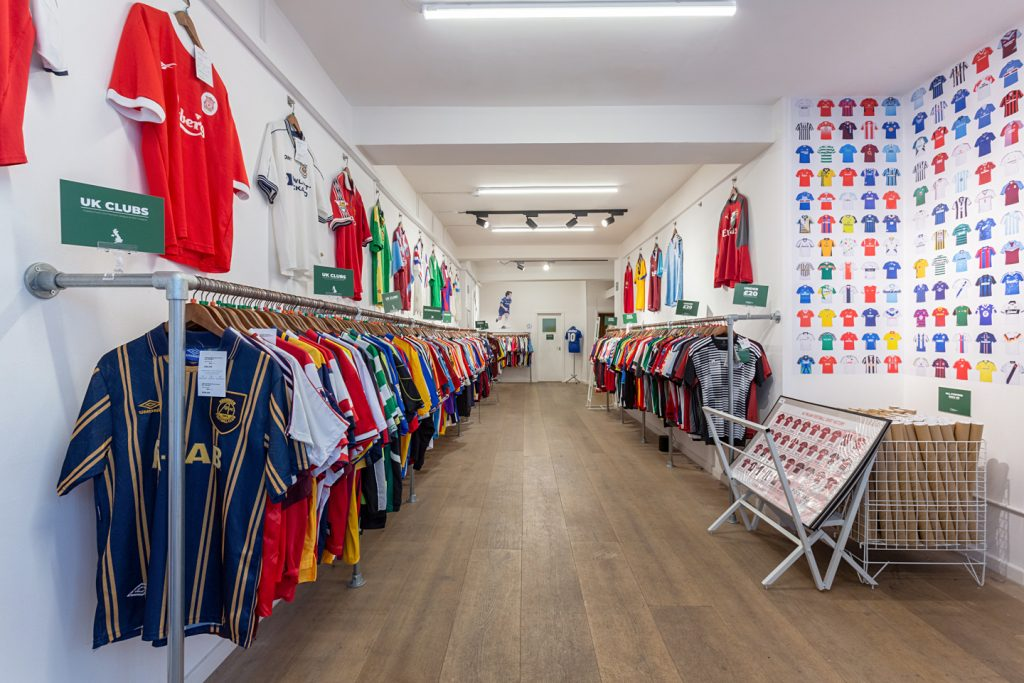 Inside the Classic Football Shirts pop-up store in London.
