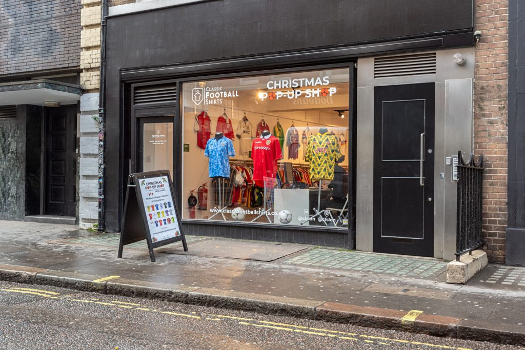 The exterior of the Classic Football Shirts pop-up shop in London